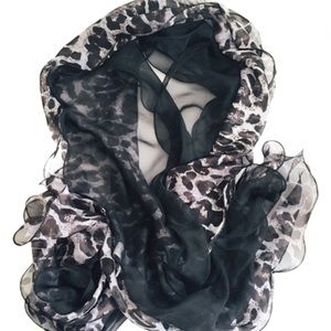 PIER 1 IMPORTS Animal Print Sheer Neck Scarf Black